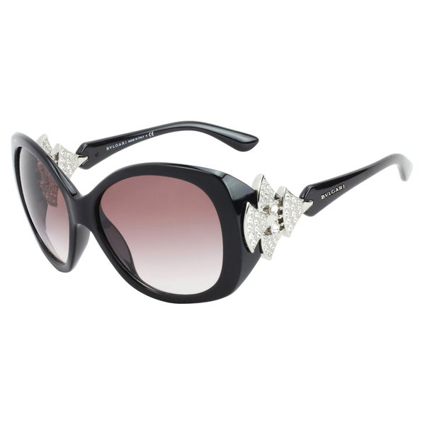 Bvlgari Women's 'BV 8126B 901/8H' Shiny Black and Crystal Fashion Sunglasses