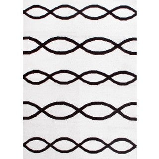 Hand-knotted Moroccan Chain Ivory Black Wool Rug (3' x 5')