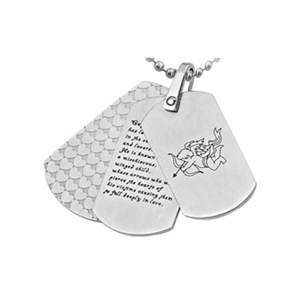 Cupid Design Triple DogTag Stainless Steel Pendant