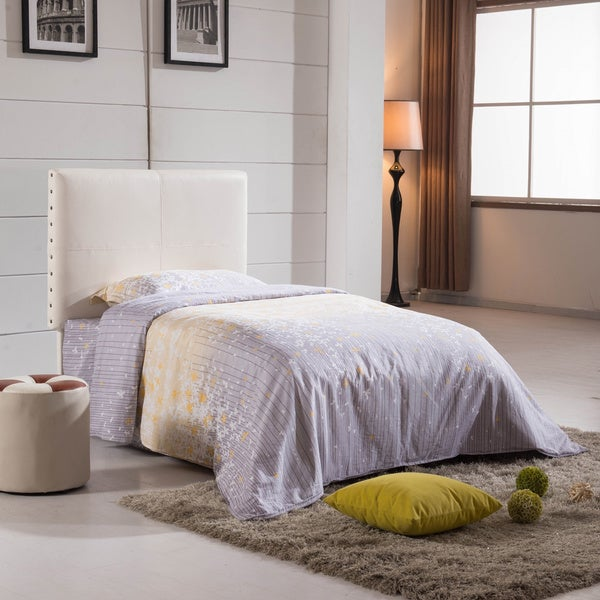 white upholstered twin headboard 1