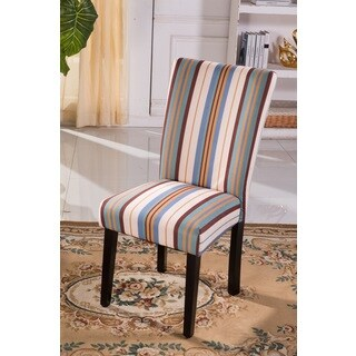 Classic Striped Print Pattern Parson Chairs (Set of 2)
