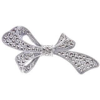 Blue Box Jewels Marcasite Unbalance Ribbon Shaped Brooch Pendant