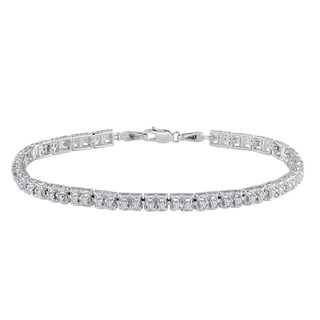 Sterling Silver 1ct TDW White Diamond Link Bracelet (I-J, I2-I3)