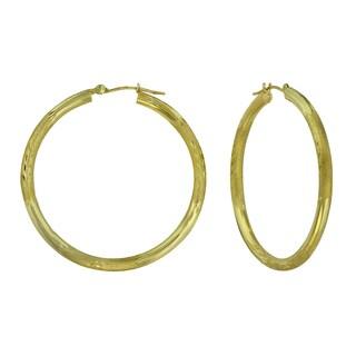 14k Yellow Gold Textured and Diamond-cut Hoop Earrings