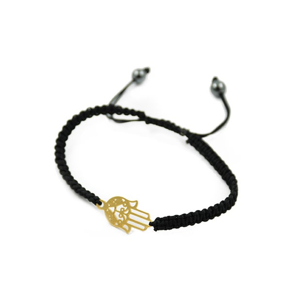 Vermeil Black Hamsa Macrame Bracelet
