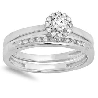 10k White Gold 1/3ct TDW Round-cut Diamond Halo Bridal Ring Set (H-I, I1-I2)