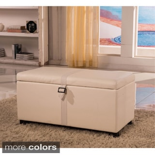 Royal Comfort Collection Classic Faux Leather Weave Decor Storage Bench Ottoman