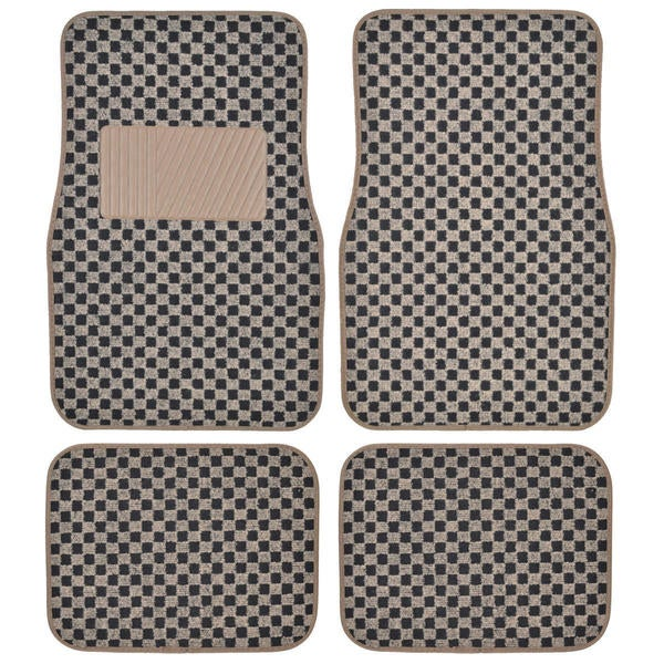 Motor Trend 4-piece Elegant Design Checker Car Floor Mats