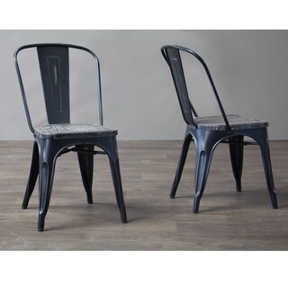 Baxton Studio Garret Antique Black Metal Dining Chair with Wooden Top (Set of 2)