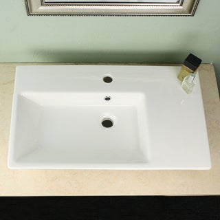 Highpoint Collection Vitreous China 28-inch Off-center Rectangle Vessel Sink