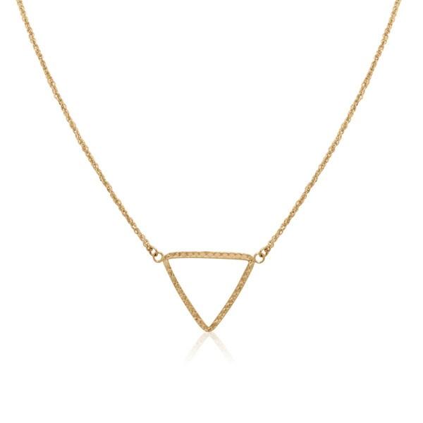 Gioelli 14k Yellow Gold Diamond-cut Open Triangle Chain Necklace