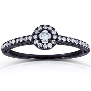 Annello 14k White Gold 1/4ct TDW Round Diamond Ring with Black Ceramic Coating (G-H, I1-I2)