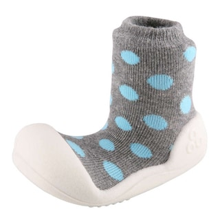 Attipas Infant Grey Polka-dotted Cotton and Rubber Shoes