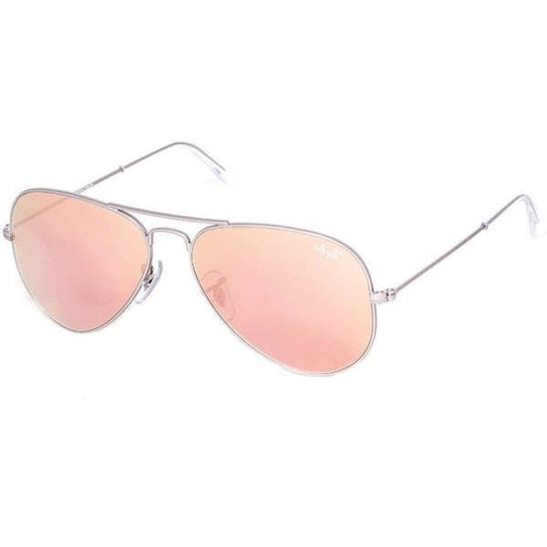 Ray-Ban Silver Frame Brown and Pink Mirror Aviator Sunglasses