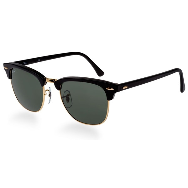 Ray-Ban Clubmaster RB3016 Unisex Black Frame Green Classic Sunglasses 14370502