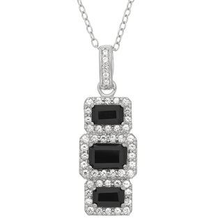 Gioelli Sterling Silver Black Onyx And Created White Sapphire Rectangular Shaped Pendant Necklace
