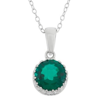 Sterling Silver 8mm Round-cut Created Emerald Crown Pendant Necklace