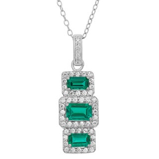 Sterling Silver Created Emerald And Created White Sapphire Rectangular Shaped Pendant Necklace