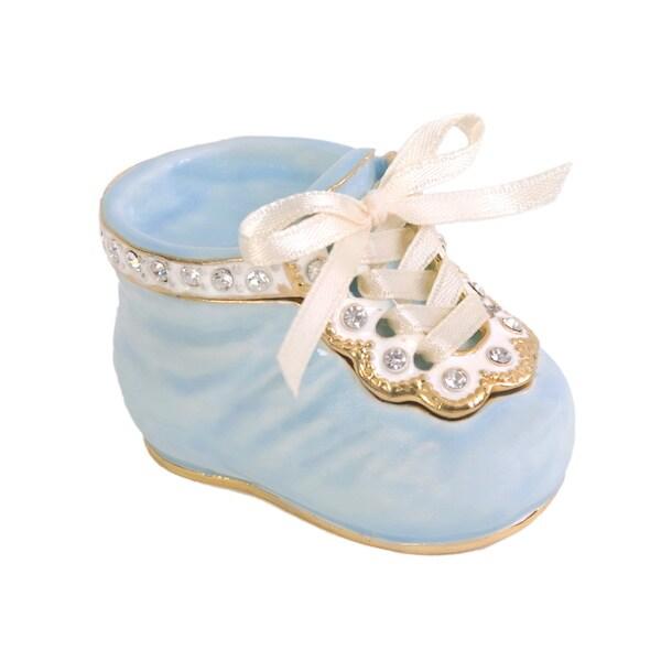 Blue Baby Shoe Gecko Trinket Box