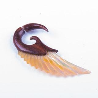 Elegant Wooden and Seashell Earring (Thailand)