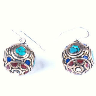 Antique Round-shape Turquoise and Lapis Earrings (Nepal)