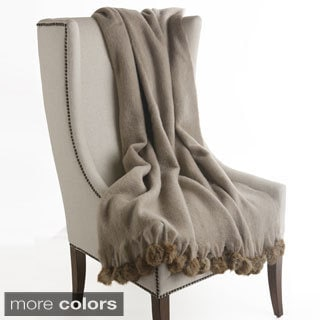 Mohair Blend Rabbit Pom Pom Wool Throw