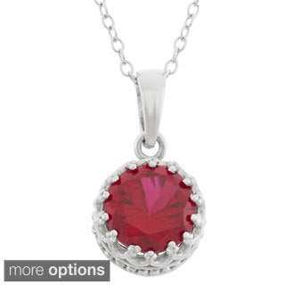 Gioelli Sterling Silver 8mm Round-cut Gemstone Pendant Necklace