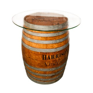 Glass Top Personalized Refinished Wine Barrel Set