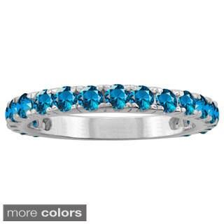 10k White Gold Designer Gemstone Birthstone Thin Ring