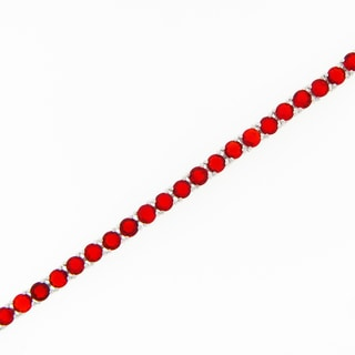 Meredith Leigh Sterling Silver Simulated Ruby Tennis Bracelet