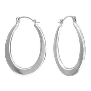 14K White Gold Oval Hollow Hoop Earrings