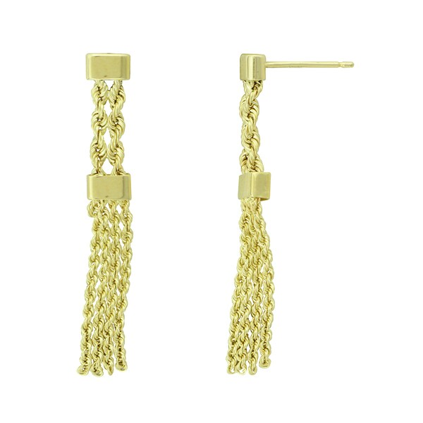 14K Yellow Gold Multi-row Chain Dangle Earrings