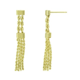 14K Yellow Gold Multi-row Chain Dangle Earrings