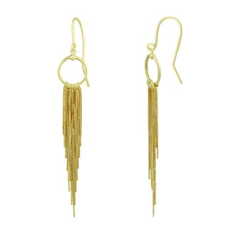 14K Yellow Gold Cascading Chain Dangle Earrings