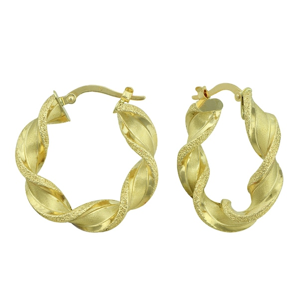 14K Yellow Gold Twisted Diamond-cut and Satin Hoop Earrings