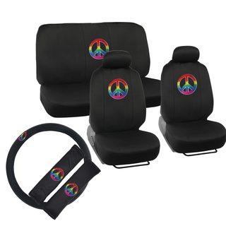 BDK Peace Design Car Seat Covers Full Set (Universal Fit)