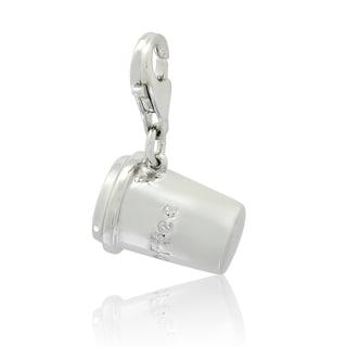 Sterling Silver Engraved Coffee Mug Charm