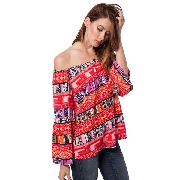 Peach Love CA Women's Coral Printed Off-shoulder Tunic