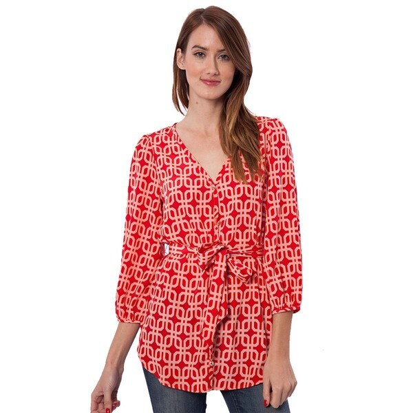 Peach Love CA Women's Geometric Printed Tunic