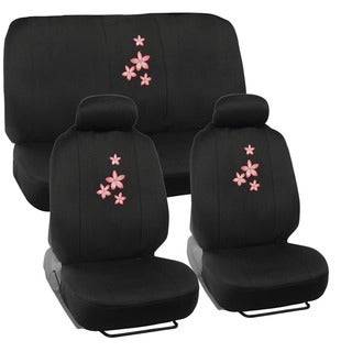 BDK Floral Design Car Seat Covers Full Set (Universal Fit)