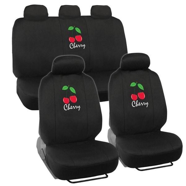 BDK Cherry Design Car Seat Covers Full Set (Universal Fit)