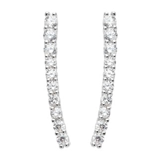 La Preciosa Sterling Silver Cubic Zirconia Vertical Curved Bar Earrings