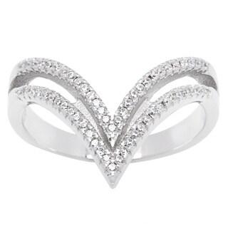 La Preciosa Sterling Silver Cubic Zirconia Double Band Tipped Trendy Ring