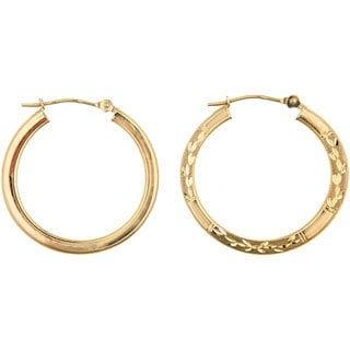 14k Yellow Gold Reversible Hoop Earrings