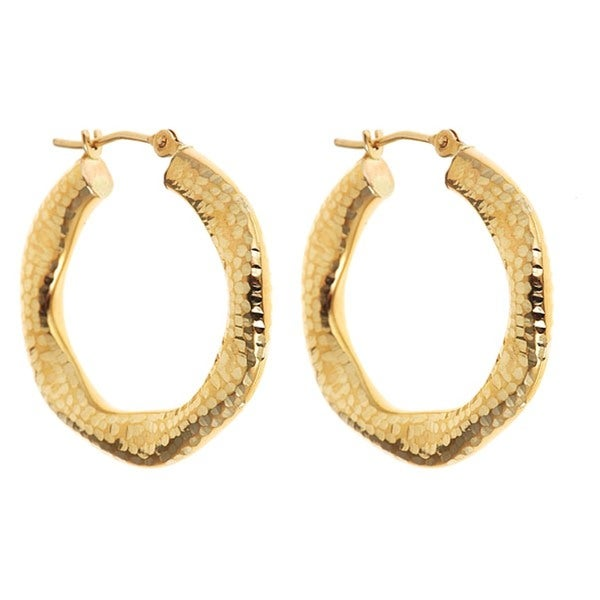 14k Yellow Gold Textured Hexagonal Hoop Earrings