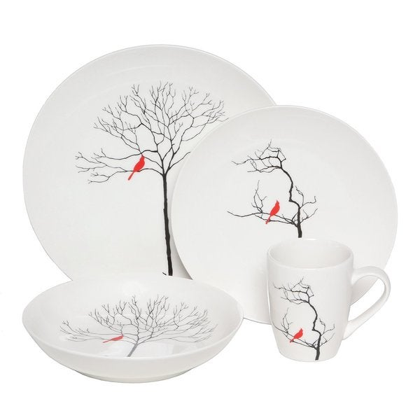 Melange Bird in Forest 32-piece Premium Dinnerware Place Setting