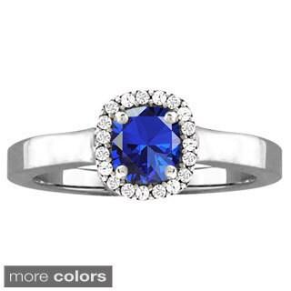 10k White Gold Cushion-cut Designer Gemstone Birthstone Ring