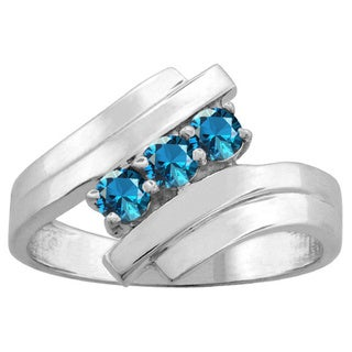 10K White Gold 3-Birthstone Split Band Ring