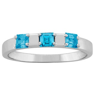 10k White Gold 3-Birthstone Inlay Ring
