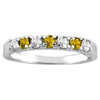 10k White Gold 7-stone Birthstone Ring